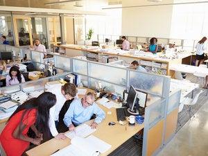 busy modern open office