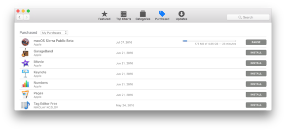 downloading sierra beta