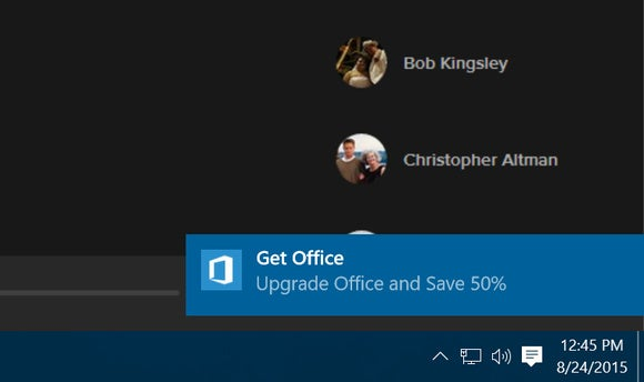 get office windows 10 pop up