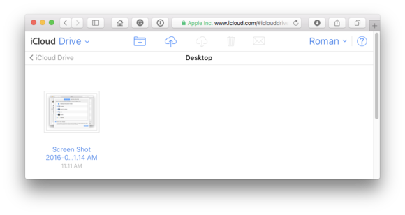 icloud drive desktop file website access