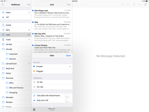 ios 10 mail filter