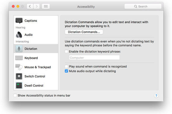 macos sierra dictation pref
