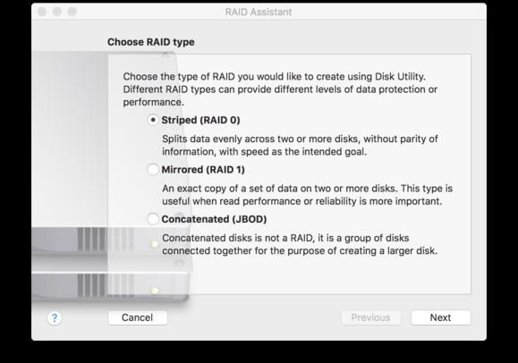 macos sierra disk utility choose raid