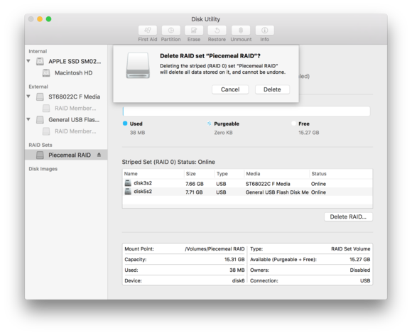 macos sierra disk utility delete raid