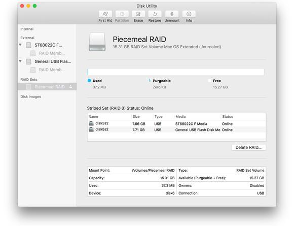 macos sierra disk utility raid sets