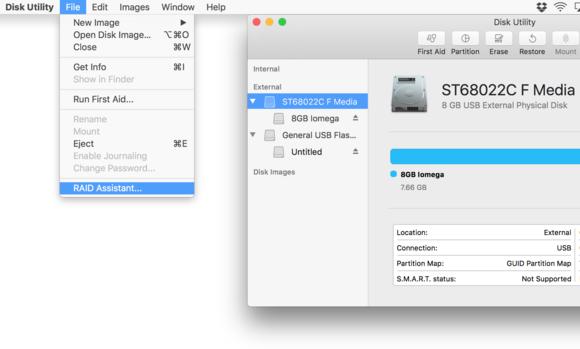 macos sierra raid asst disk utility