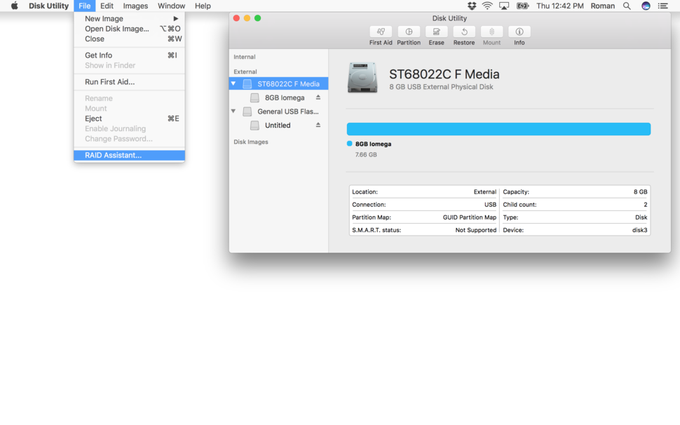 How to configure a software RAID in macOS Sierra's Disk