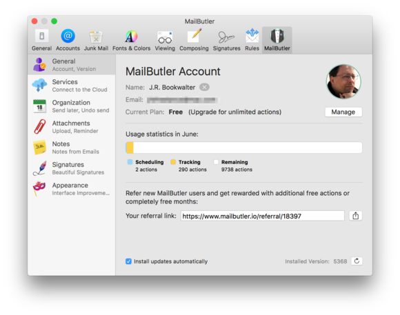 mailbutler account information