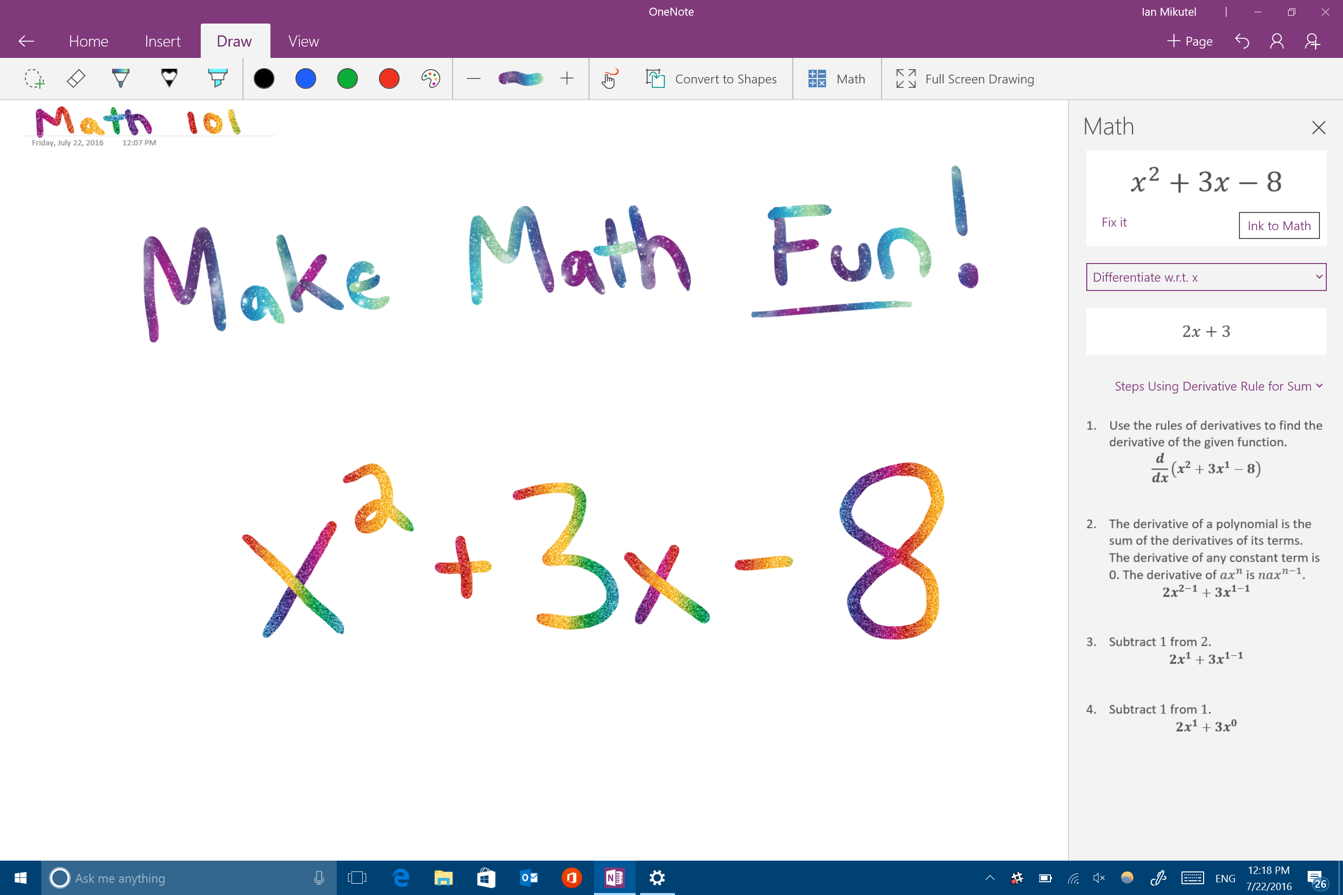 microsoft s windows ink will soon do your math homework for you  math onenote screenshot