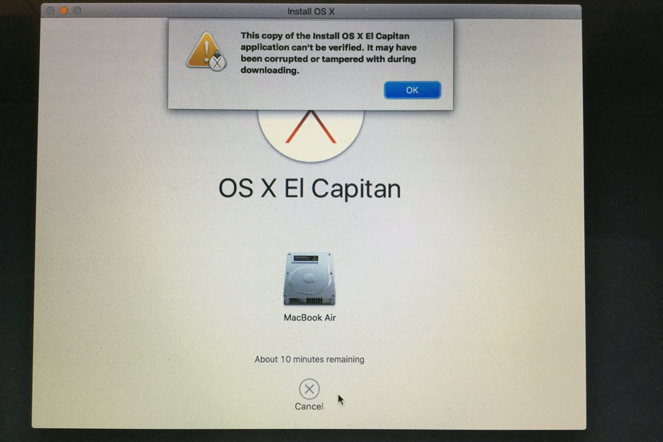 Error Message While Trying To Install OS X El Capitan From A USB Installation Disk