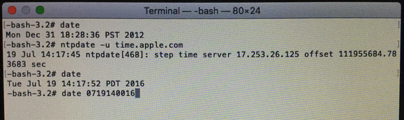 osx boot install error terminal set date manual