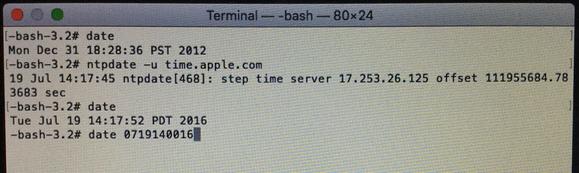 osx boot install error terminal set date manual