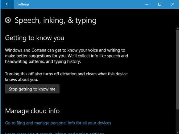 Windows 10 Cortana personalization