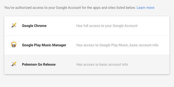 pokemon go google access