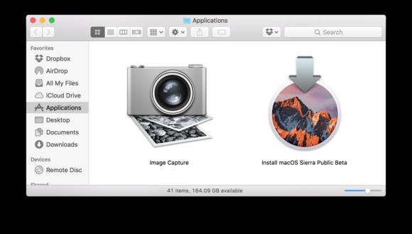 sierra beta installer app folder