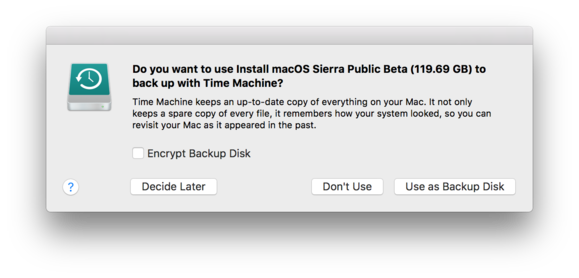 sierra drive time machine