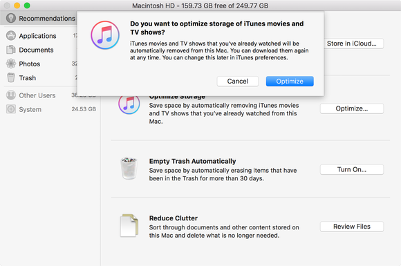 sierra optimized itunes