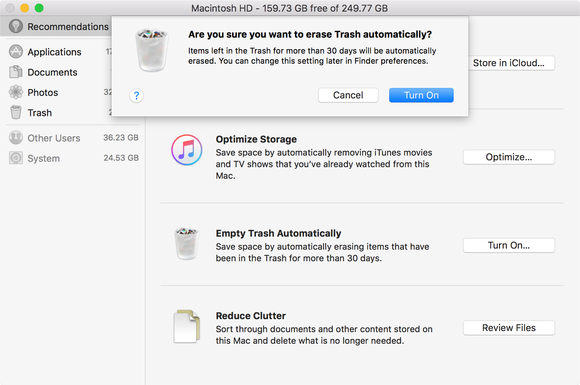 sierra optimized storage erase trash auto