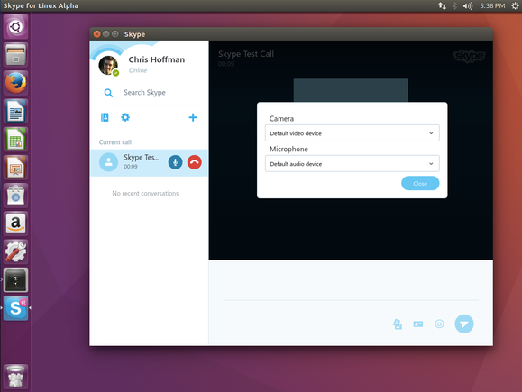 Options for choosing a webcam and microphone in Skype for Linux Alpha.