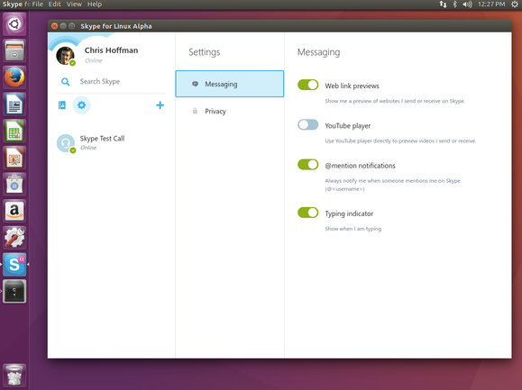 The settings screen in Skype for Linux Alpha.