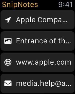 snipnotes apple watch list