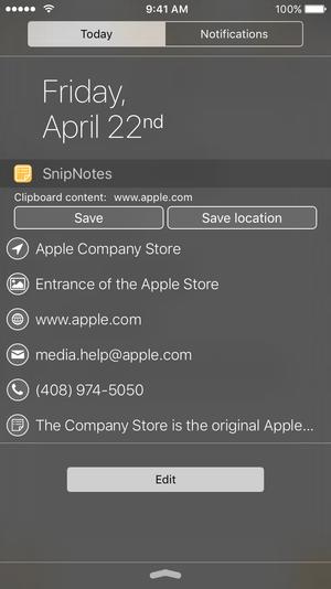 snipnotes iphone widget