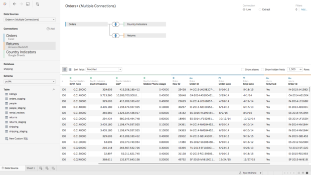 tableau cross database join