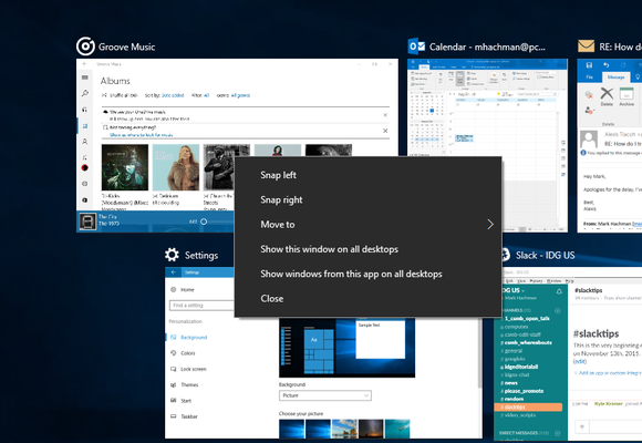 Windows 10 Anniversary Update task view app on all desktops