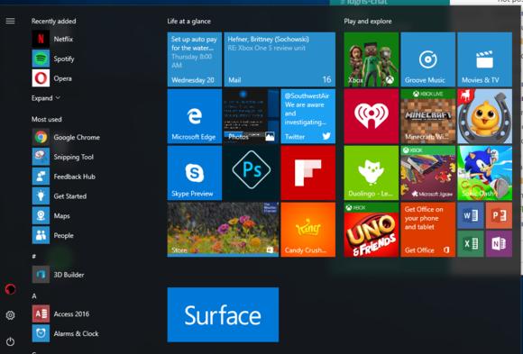 windows 10 au start menu