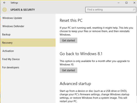 windows 10 revert to windows 8