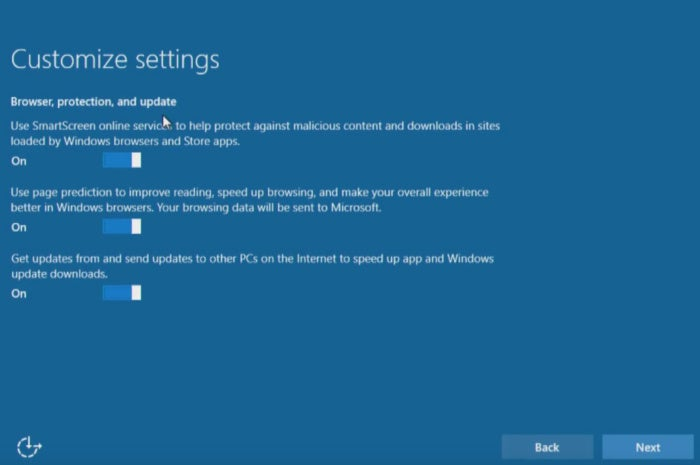 windows 10 install customize settings browser protection update