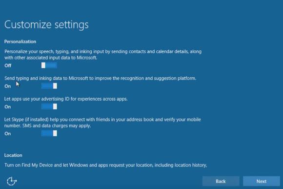 windows 10 install customize settings personalization location