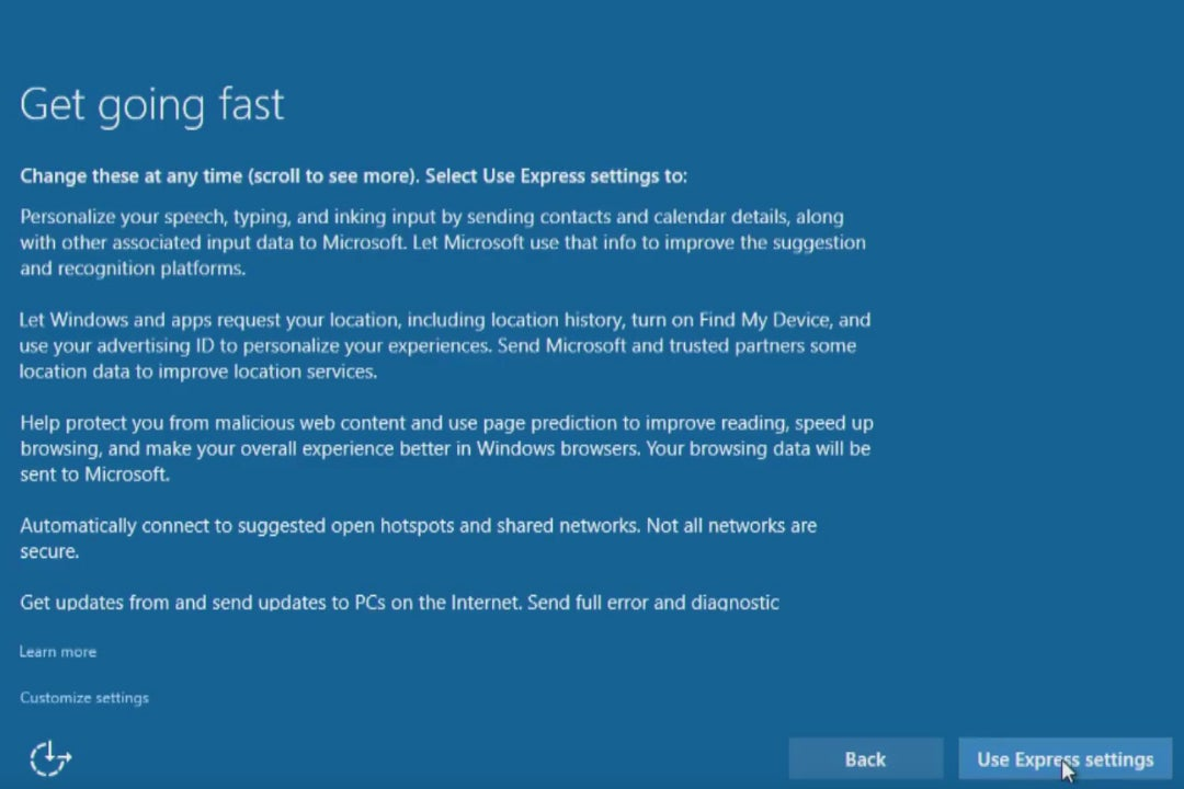 Windows 10 upgrade Express Settings: How to customize them for