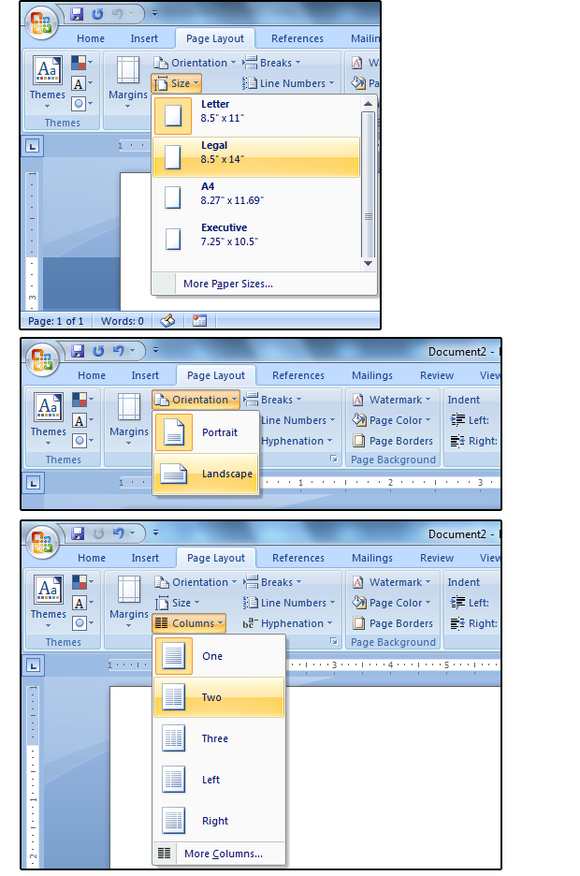 01 set the paper size orientation and columns