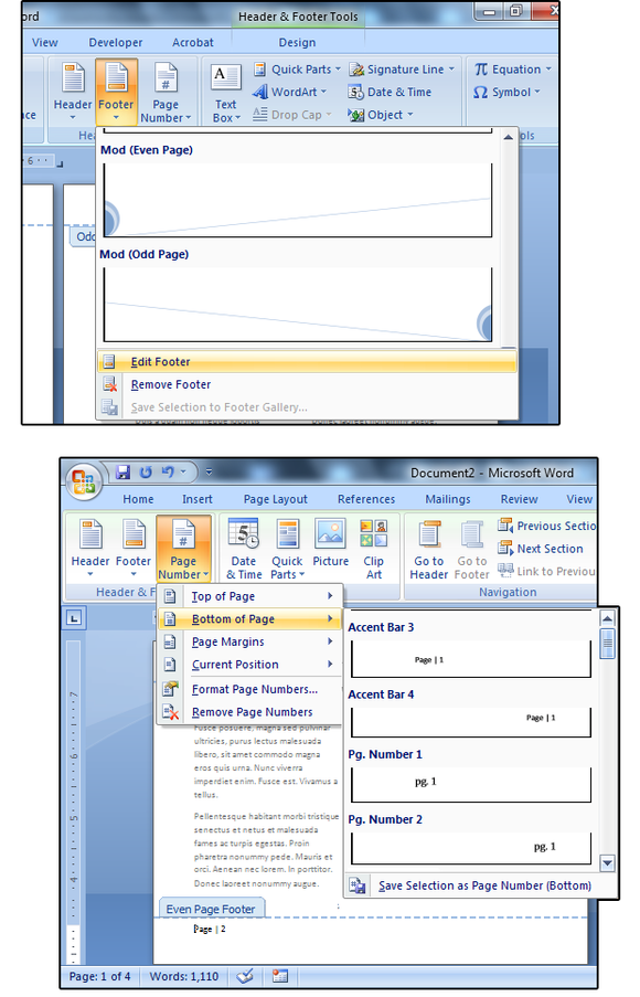 05 insert footers and page numbers