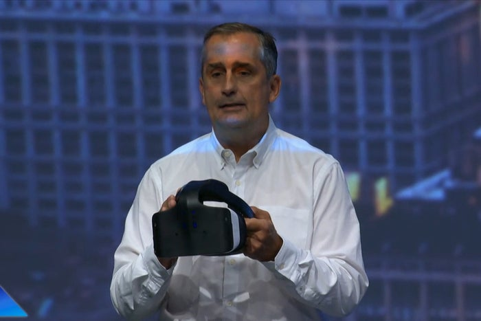 Intel CEO Brian Krzanich shows off a Project Alloy AR headset at IDF 2016.