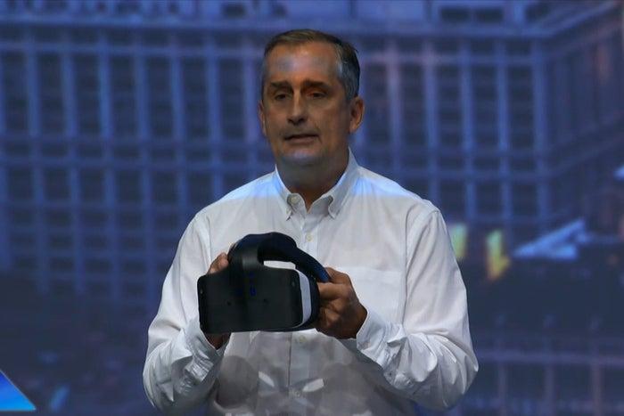 Intel CEO Brian Krzanich shows off a Project Alloy AR headset at IDF 2016.