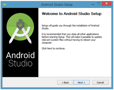 The installer presents the Android Studio Setup dialog box.