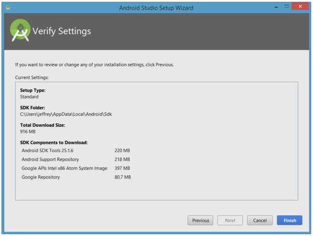 Review various settings before installation of SDK components.