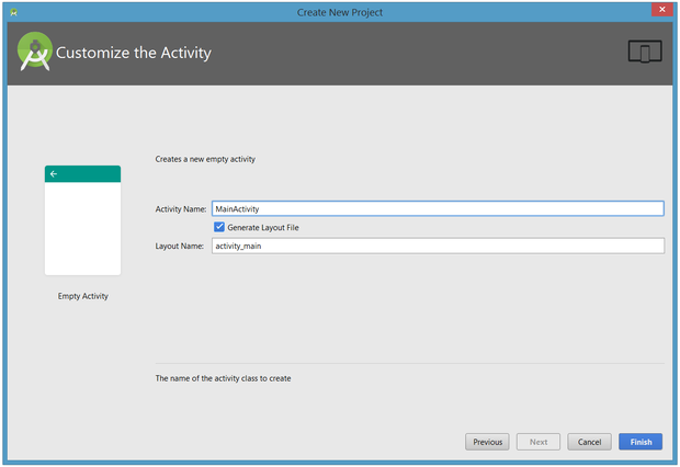 Choose the activity name and, if a layout file is to be generated, the name of the layout.