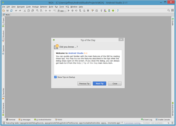You are initially greeted with the Tip of the Day dialog box, which you can easily disable if desired.