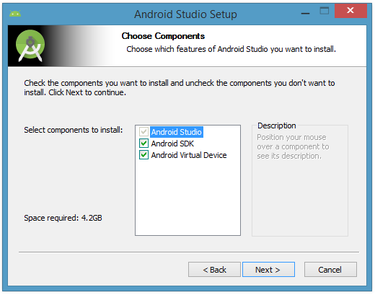 how to change default install for android sdk manager
