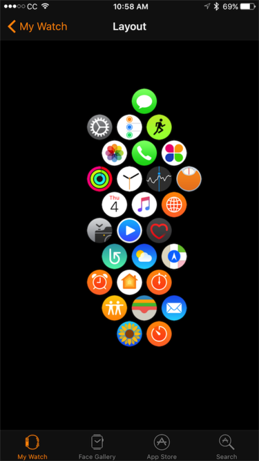 apple watch honeycomb interface ios app