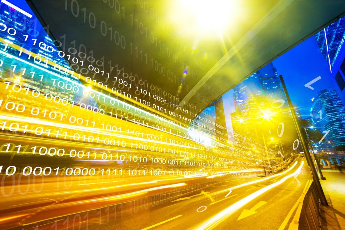 binary code cityscape speed