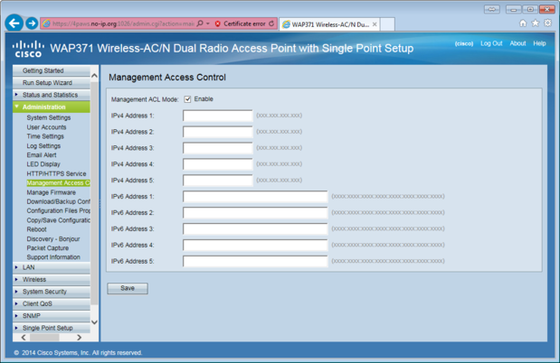 Cisco AP - block admin access