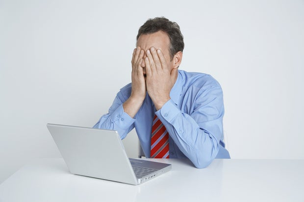 businessman laptop disaster crash bummer dude