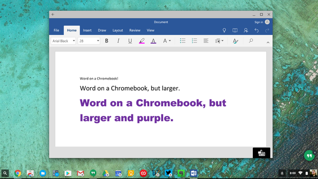 chromebook android apps office