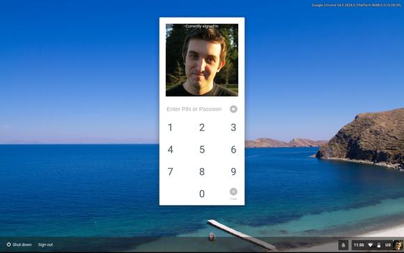 PIN unlock on a Chromebook.