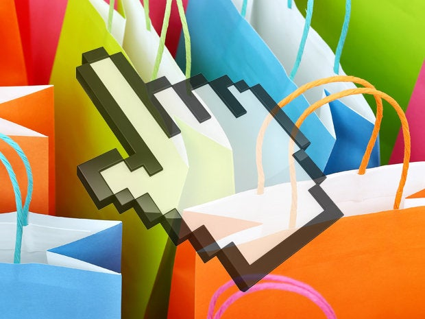 e commerce shopping bags with computer cursor