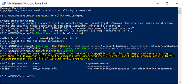PowerShell into Office 365 admin